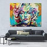 Cuchillo Pintura al óleo Marilyn Monroe Impresión en lienzo sobre lienzo Retrato de gran tamaño Cartel de lienzo para sala de estar Cuadros de pared A 70x105cm