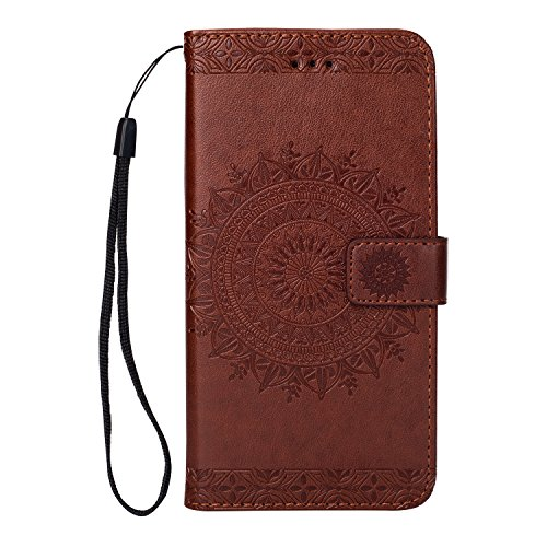 FOLICE iPhone 7 Plus Case, iPhone 8 Plus Case, Stylish Embossing Mandala Flower Pattern [Shock Absorbent] Credit Cards Slot Cash Pockets PU Leather Kickstand Wallet Cover Durable Flip Case (Brown)