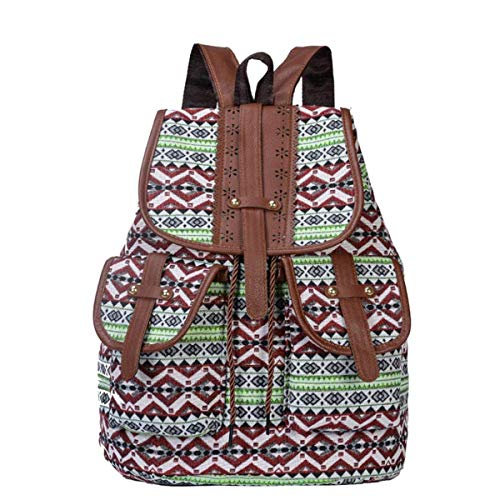 Children's Backpack, Retro Folk-custom Pattern High Capacity Leisure Travel Rucksack Canvas Material Breathable Wear Resistant Ms Shoulder Bags (30 * 15 * 40cm),A