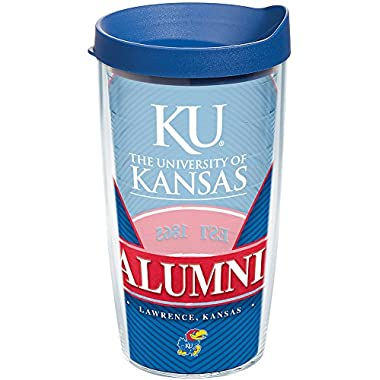 Tervis 1227474 Kansas Jayhawks Alumni Tumbler with Wrap and Blue Lid 16oz, Clear
