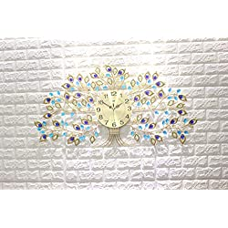 "KINBEDY Luxury Big Tree Crystal Bohemian Peacock Style Metal Modern Wall Clock with Silent Movement 10"" Metal Dial Large Decorative Clock for Living Room, Bedroom, Office Space. 32''X17''."