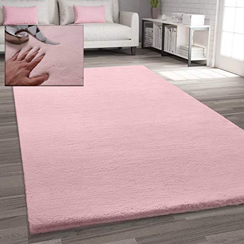 VIMODA Fellteppich Kunstfell Teppich Imitat in Rose Dicht Flauschig Seidiger Glanz, Maße:80x150 cm