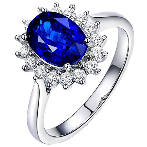 AueDsa 925 Sterling Silver Rings Womens,Sapphire Ring for Women Oval with Flower 7X9MM Blue White Sapphire Crystal Ring Size M 1/2