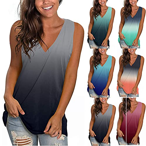 Women Summer Loose Fit Tank Top Trendy Tie Dye Casual Plus Size Vest Shirt Lady Sexy Sleeveless V Neck Workout Blouse