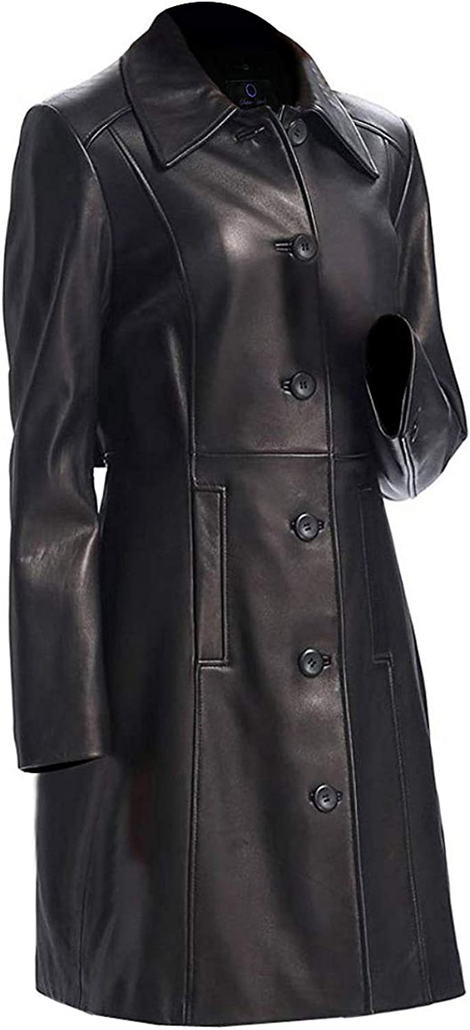 Chase Squad Lambskin Leather Coat Women  Long Body Premium Leather Coat in Black with Tailor Fit