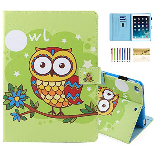 Casii Case for iPad 9.7 2018/2017, Ultra Slim Folio Stand Premium Leather Shockproof Protective Cover with Card Slots & Auto Sleep Wake & Pencil Holder for iPad Air 2/ iPad Air, Cute Owl