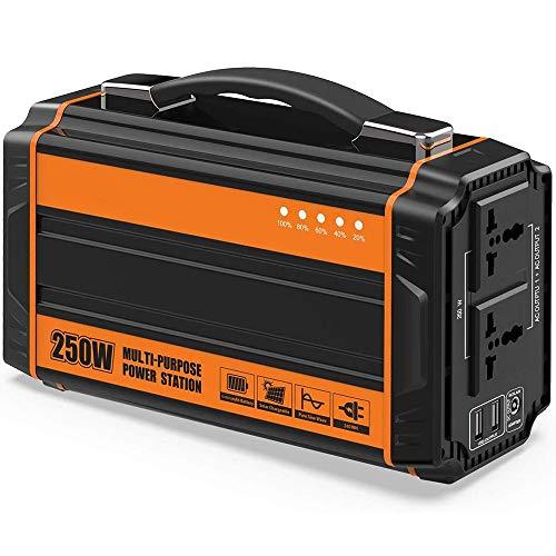 SIRUL 250 W Tragbare Power Station, Wiederaufladbarer Lithium Akku Solargenerator mit 220 V Wechselstromsteckdose, 12 V Auto, Netzunabhängiger USB-Ausgang für CPAP Backup Camping Emergency