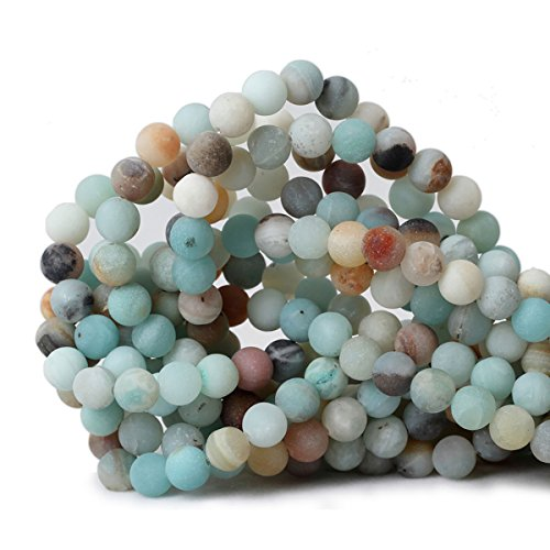 Ronde vorm Stone Losse Kralen Edelsteen DIY Armband Ketting voor Sieraden Maken 8mm Natural Matte Colorful Amazonite