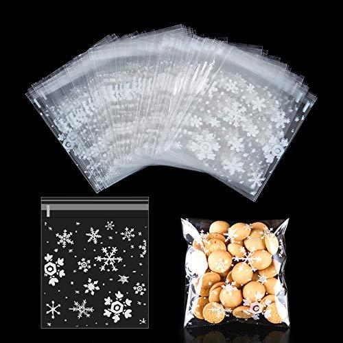 MELLIEX 200pcs Sacchetti Biscotti di Natale, Fiocchi di Neve Sacchetti cellophane Trasparente per Caramella, autoadesiva risigillabile plastica Sacchetti per Alimentari di Natale Festa