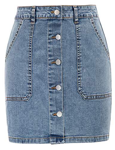 GRACE KARIN Donna Skirt in Jeans Casual Bodycon a Vita Alta con Due Tasche Ufficio Blu L CLX011S21-1