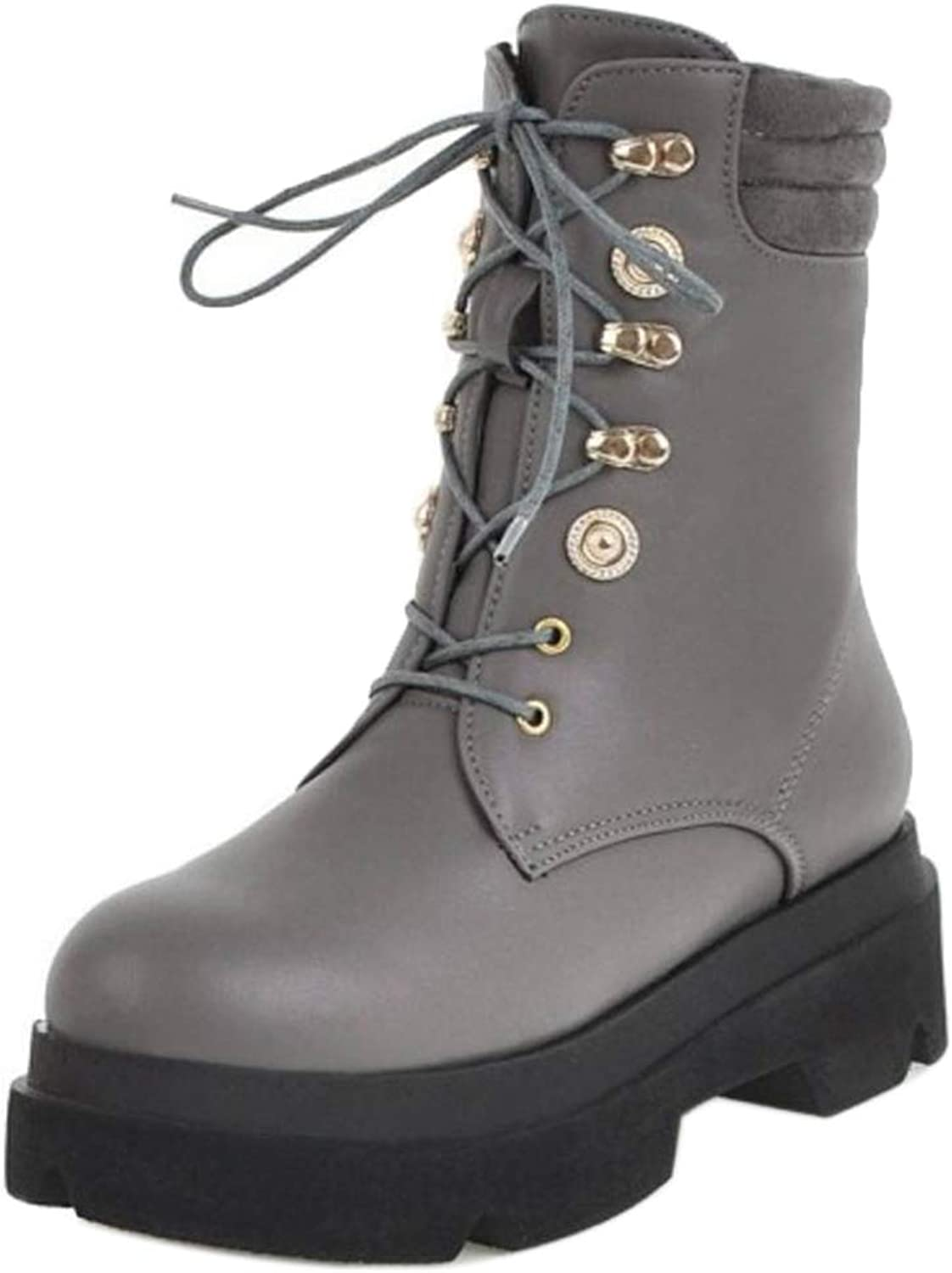 AicciAizzi Women Lace Up Biker Boots Thick Sole