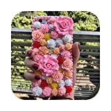 Fun-boutique Coque pour iPhone 11,Girly Pink Flowers Bling Diamonds Hard Case for iPhone 11 Pro Max...