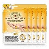 Hand Mask, (5 Pack) Moisturizing Gloves, Moisturizing Natural Treatment Gloves, Exfoliating Hand Peeling Mask for Dry Hands, Repair Rough Skin for Men Women ( Honey)