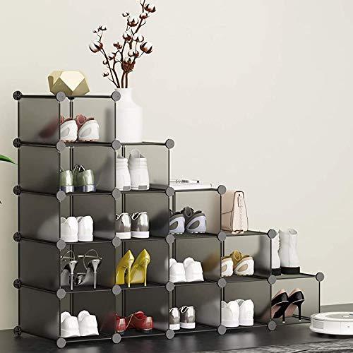 HOMIDEC 16 Cube Light Grey Shoe Rack, DIY Wardrobe Closet Organizer, Storage Bookshelves Bookcase, Interlocking Shelving Unit, Home Solutions Unit for Clothes Books Toys