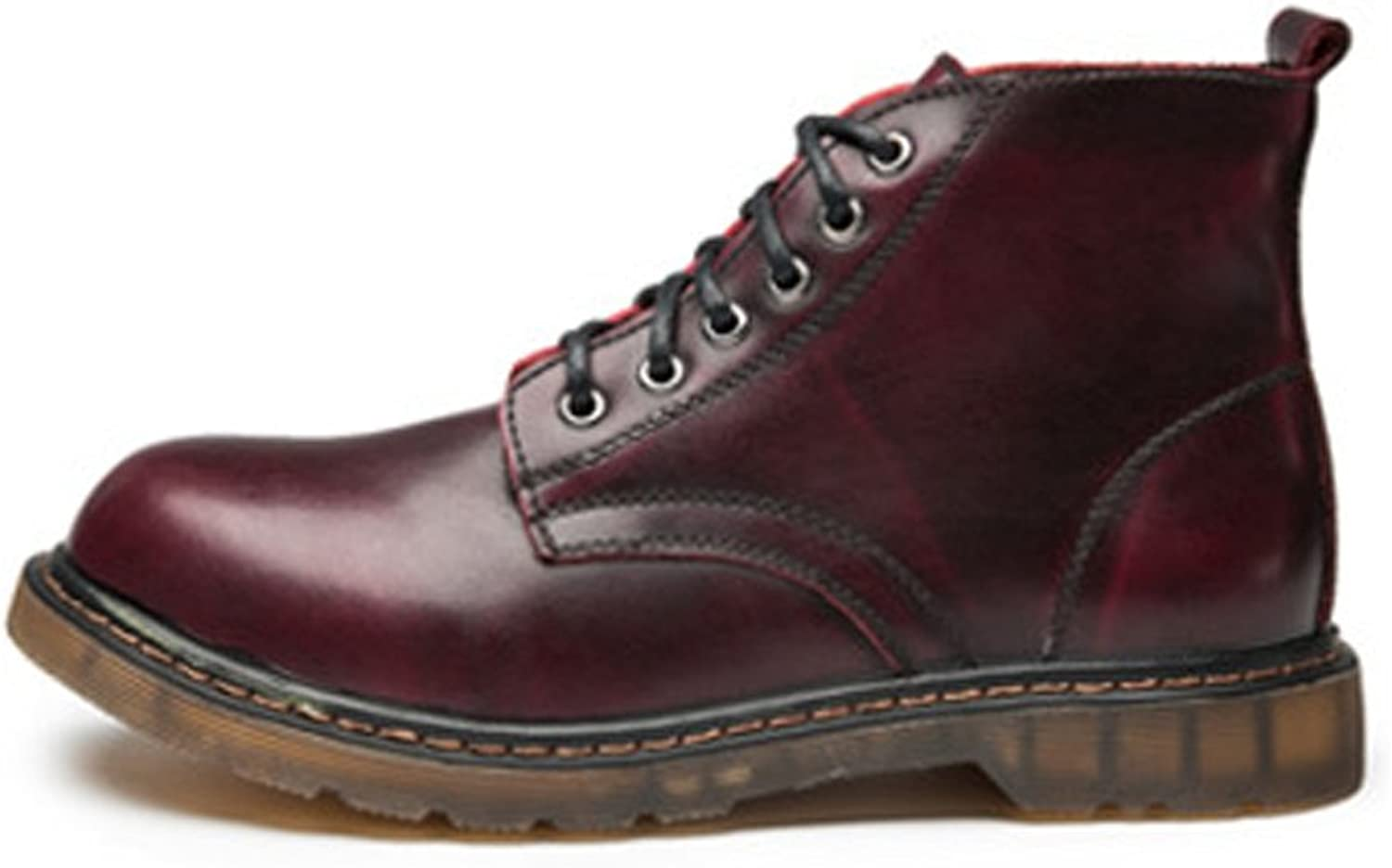 MUMUWU Men's shoes Classic Leather Lace Up Oxfords High Top Ankle Boots for Gentlemen Winter