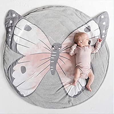 USTIDE Baby Rugs Creeping Crawling Mat Cartoon Sleeping Rugs, Children Anti-Slip Game Mat Cotton Floor Play Mat Blanket Play Environmental Carpet Kids Room Decor 37.4 x 37.4 (Butterfly)