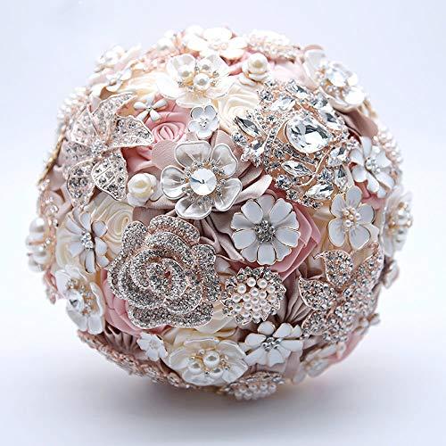 Seide Hochzeit Blumen Strass Schmuck erröten rosa Brosche Bouquet Gold Broach Brautkleid Brautstrauß