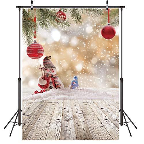 LYWYGG 5x7FT Fondo de Feliz Navidad Muñeco de Nieve de Navidad Piso de Madera Fondo de Foto Fondo de Copo de Nieve...