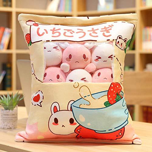YZGSBBX Eine Plüschtasche Pudding Spielzeug Mini-Tiere Puppe Sakura Bunny Katze Hamster Pinguin Ente Erdbeer Hund Unicorn Kissen Mädchen Kinder Geschenk Plüschspielzeug (Color : 8pcs-9)