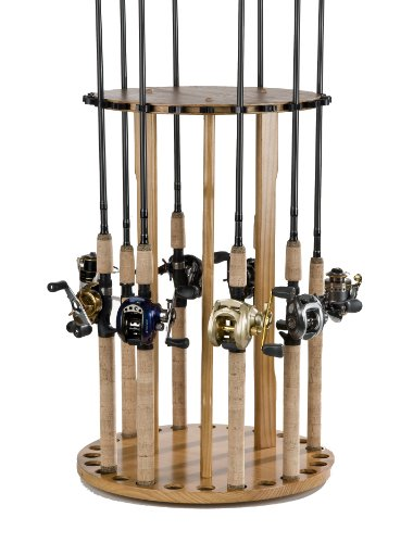 Old Cedar Outfitters Spinning Floor Rack for Fishing Rod Storage, Holds up to 24 Fishing Rods, Oak Finish, BPSP-024