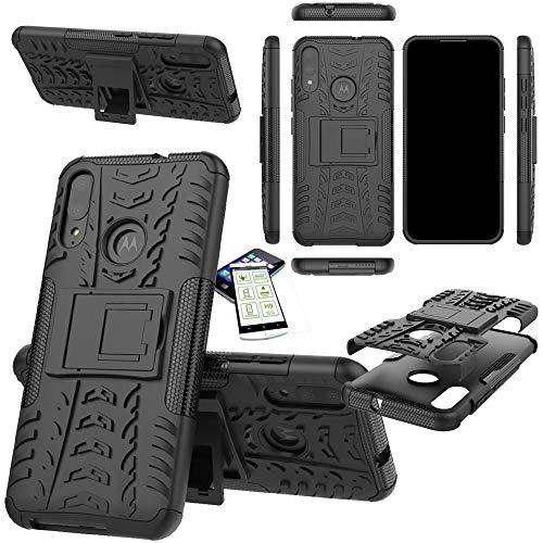Wigento Für Motorola Moto E6 Plus Hybrid Handy Tasche Outdoor Schwarz Cover Etuis + H9 Glas Panzer