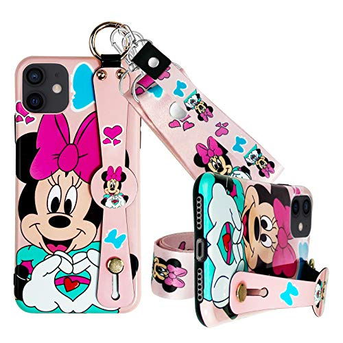 Cartoon iPhone 11 Case with Wrist Strap Kickstand Lanyard Full-Body Protective Wrist Band Case for iPhone 11 6.1inch (iPhone 11 (Love Girl))