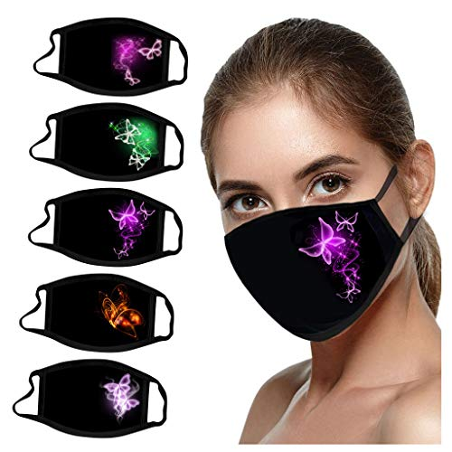5PCS Butterfly Print Black Face_Mask Washable, Breathable Reusable Face_Masks for Coronàvịrụs Protectịon (Multicolor A)