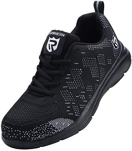 Zapatillas de Seguridad Mujer/Hombre DY-112, Zapatos de Trabajo con Punta de Acero Ultra Liviano Suave y cómodo Transpirable, Negro Blanco, 39 EU