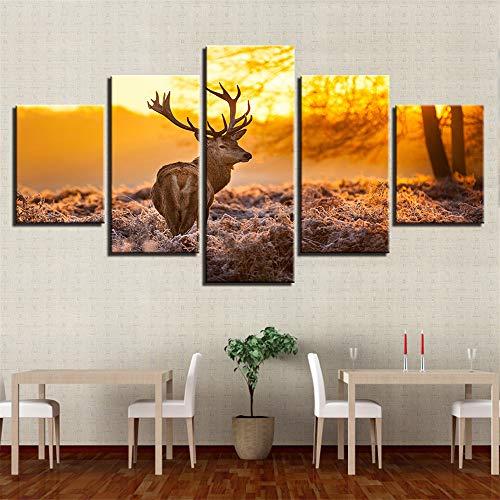 WSNDG Wulian schemering zes-paard canvas schilderij, Wulian hert dier, Wulian schemering elk dier canvas schilderij zonder fotolijst 30x50/2 30x70/2 30x80 B5