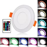 BLOOMWIN Doble color LED empotrable de techo Lámpara Downlights redondo 3 modos de iluminación 6W blanco y RGB
