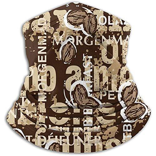 Kenice Neck Warmer Frühstück Verschiedene Sprachen Mit Kaffeebohnen Neck Gaiter Tube,Ear Warmer Stirnband&Gesichtsmaske Ultimative Wärmespeicherung,Vielseitigkeit&Stil