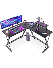 """ACPLAY L-Shaped Desk Computer Corner Table, 50.8"""" Home Gaming Desk, Office Writing Workstation with Large Monitor Stand, Space-Saving, Easy to Assemble (Black, (50.8""""+50.8"""") L x 18.2""""W x 29.5""""H)"""