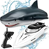 Remote Control Shark Boat,2.4G 9.315mph Electric Watercraft Outdoor Toy for Pool ,Racing Boat Ship Speedboat Toys for Kids&Adults
