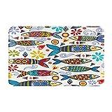 Alfombras de baño Decoración de la habitación, brillante y sorprendente patrón de Portugal de sardinas ornamentales y alfombras de piso suaves y duraderas con diseño gráfico y antideslizante