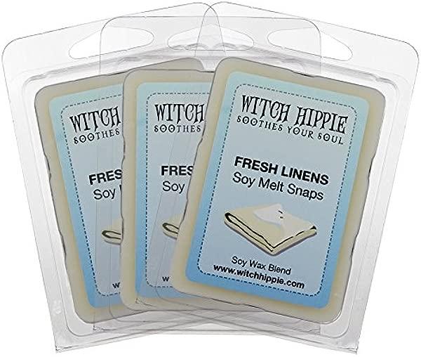 清爽亚麻香味 Wickless 蜡烛挞月包法令》天然大豆蜡立方体的清洁与柔软的微妙的笔记粉麝香洗衣