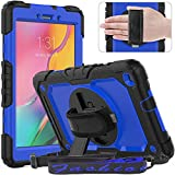 Timecity Tablet Case Compatible with Samsung Galaxy Tab A 8.0 inch 2019 Release(ONLY fit SM-T290/T295/T297),with Built-in Screen Protector&360 Degree Rotatable Stand&Hand Strap&Shoulder Strap-Blue