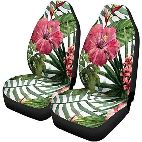 XZfly Autositzbezüge Grünes Muster Hawaii Aquarell Bunte Malerei Palme Sommer Set von 2 Protektoren Auto Fit für Auto