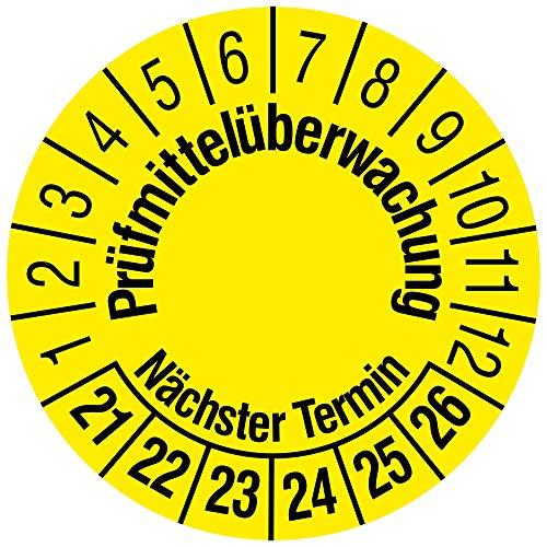 Gepr/üft nach DGUV Vorschrift 3 gelb /Ø 30 mm Labelident Mehrjahrespr/üfplakette 2021-2026 144 f/älschungssichere Pr/üfplaketten in der Packung Dokumentenfolie selbstklebend
