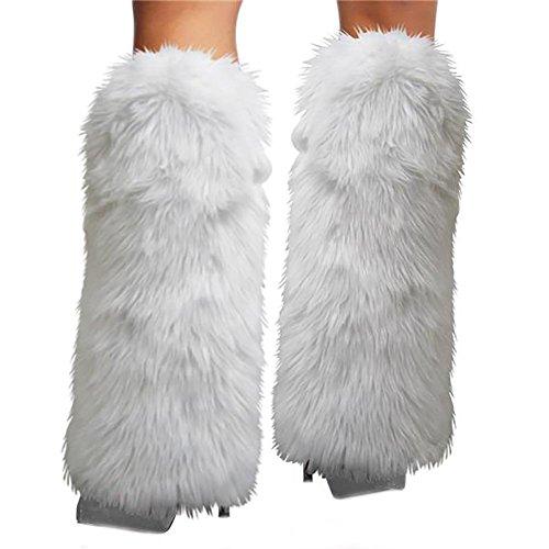 Women's Fur Leg Warmers Sexy Furry Fuzzy Leg Warmers Soft Boot Cuffs Cover