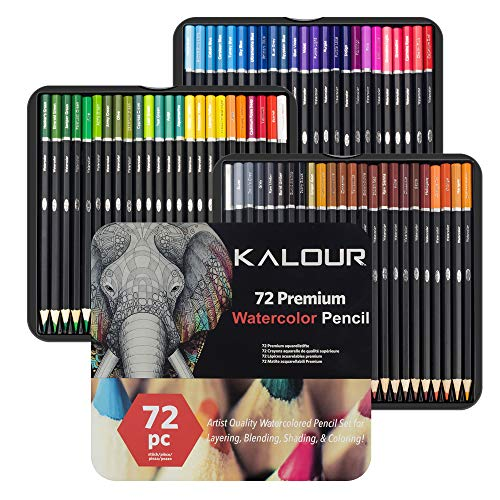 Kalour 72 Watercolor Pencil Set for Adults Coloring Book - Water Soluble Professional Hexagonal Pencil - Ideal for Coloring Blending and Layering - Vibrant Color Pencil for Beautiful Art