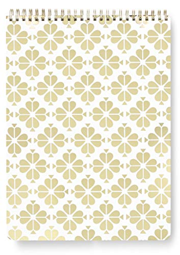 Kate Spade New York Large Top Spiral Notebook with 160 Lined Pages, Gold Spade Floral