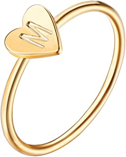Fashion 26 Letter Alphabet Name Ring Women Custom A-Z DIY Initial Love Heart Engraved Bague Ring for Her Size 8