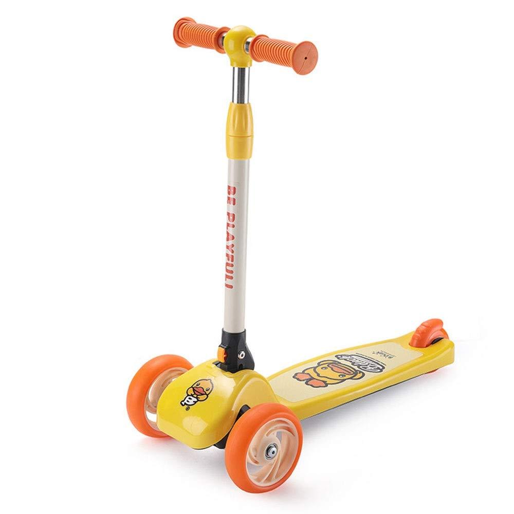 皮しない返済Wink zone 漫画の小さな黄色いアヒルの形のデザインで、子供の三輪スクーターに適して、折りたたみ、持ち運びが容易、ユニセックス、子供のギフト 購入へようこそ ( Color : Yellow )
