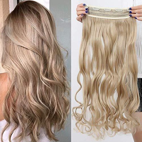 TESS Haarteil Clip in Extensions wie Echthaar Honigblond Haarverlängerung 1 Tresse 5 Clips günstig Gewellt Haarverdichtung