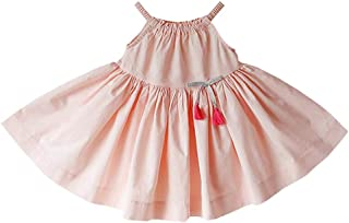 Fairy-Baby Kids Girls Summer Sleeveless Strap Solid A-line Cotton Pleated Dress+Panty