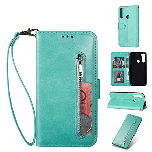 Nadoli Lederhülle für Samsung Galaxy A11,Stilvoll Reißverschluss Entwurf Pu Leder Magnetverschluss Standfunktion Kartenfächer Brieftasche Handyhülle Etui mit Lanyard