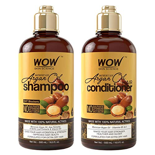 Price comparison product image WOW Moroccan Argan Oil Shampoo & Conditioner Set (16.9 Fl Oz Each) - Increase Moisturization,  Hydration For Dry,  Damaged Hair Repair - No SLS,  Parabens or Sulfates - All Hair Types For Men & Women