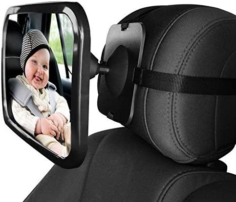 Dorart Rear Facing Baby View Mirror for Child Safety Car Seat - Crystal Clear Reflection via Crash-tested & Shatterproof Convex Mirror