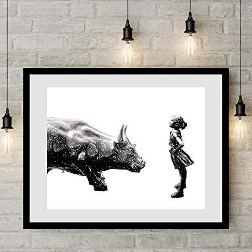 Fearless girl statue wall street bull New York framed wall art 14x18 black wood frame 11x14 art print