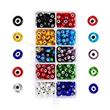 NBEADS 350 Pcs 8mm Mixed Color Handmade Evil Eye Lampwork Beads, 9 Assorted Colors Flat Round Lampwork Spacer Beads DIY Crafts Evil Eye Charms with Container for DIY Bracelets Necklace Jewelry Making